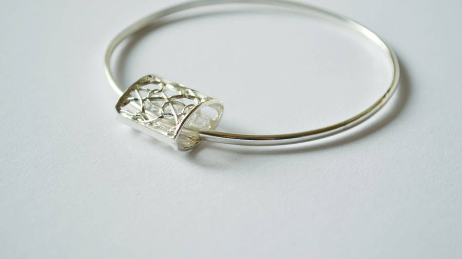 Silver Bangle With Rectangular Pillow Charm