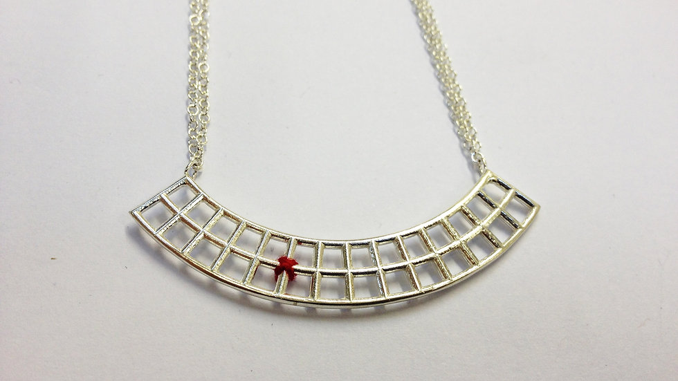 Two Tier Silver Curved Pendant