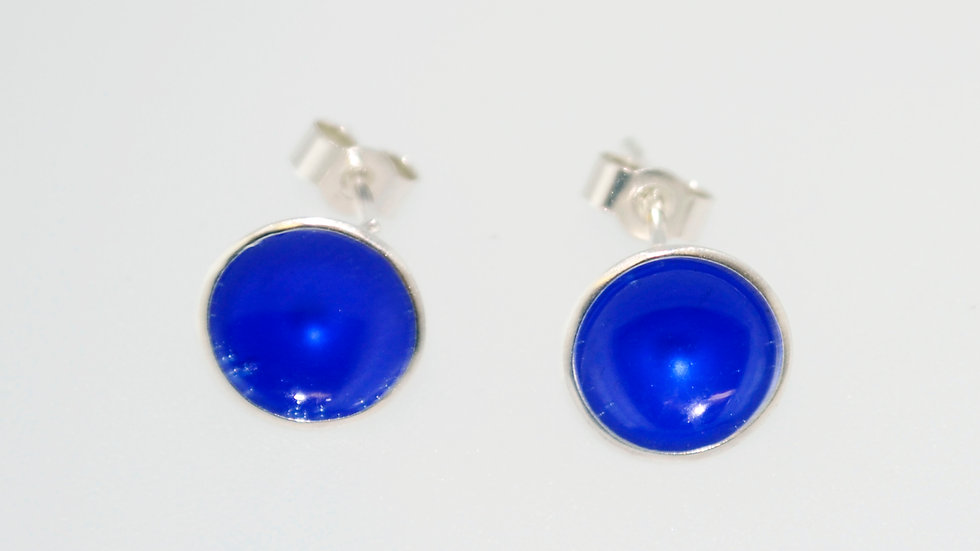 Bright Blue Enamel Sterling Silver Studs