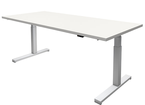 BardMove-it G Untergestell grau, Arbeitsplatte Holz, Desktop belegt