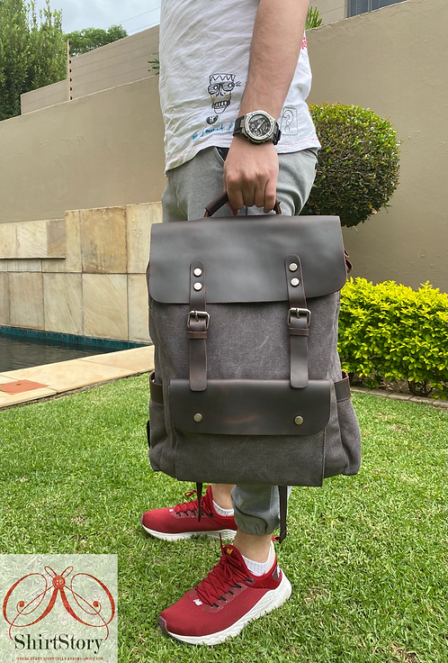 ShirtStory Satchel Canvas With Leather BackPack
