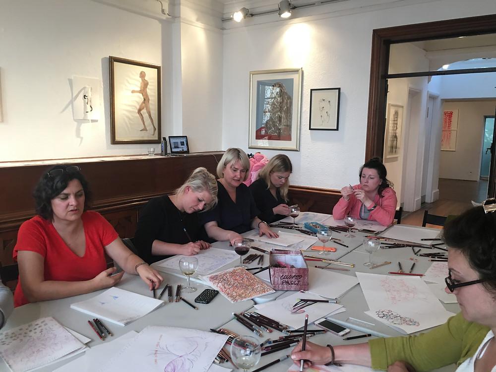 UCL PGCE artist teachers at RSS drawing workshop