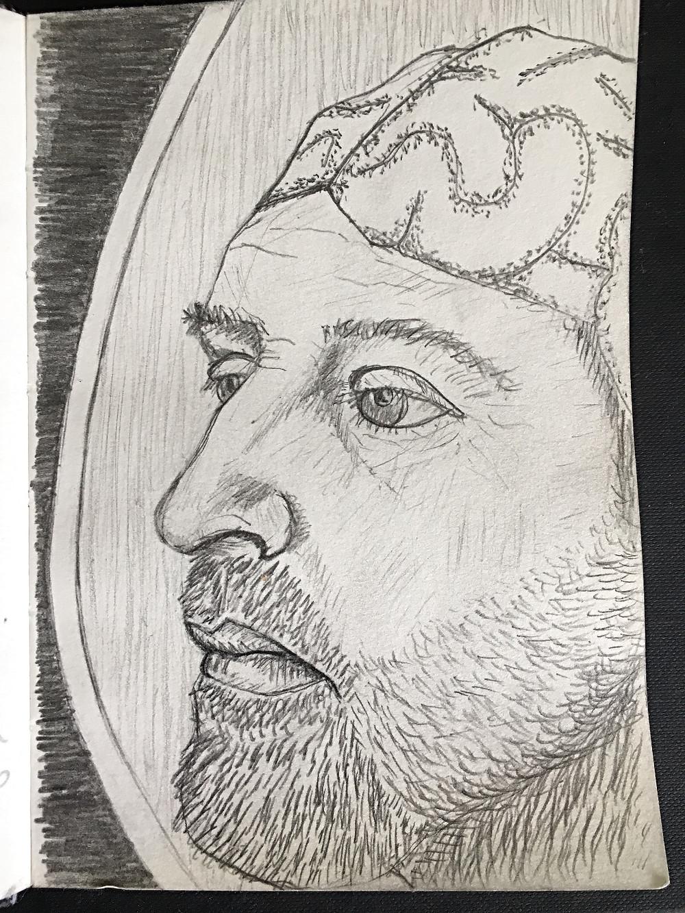 Mirror Self-Portrait with brain cap, 2018