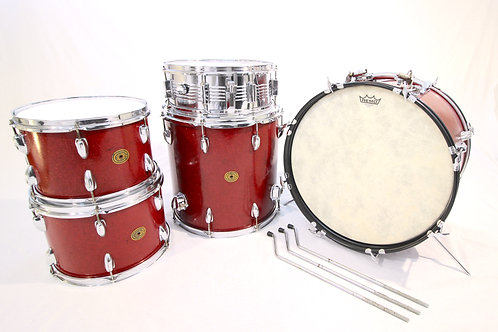 "Vintage 1960's ""Gambles"" MIJ Red Sparkle Drum Set (Shell Pack)"