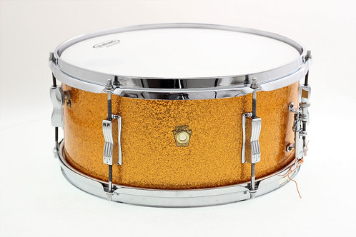 "Vintage Ludwig Pioneer 14"" x 6.5"" Gold Sparkle Snare Drum"