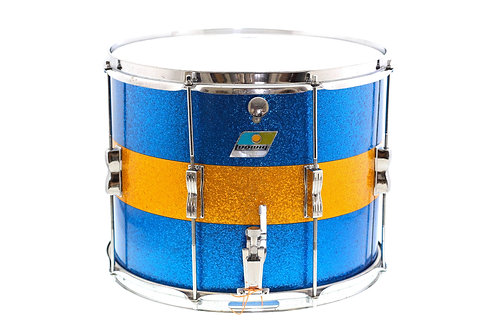 "Ludwig 1970's 15"" x 12"" Marching Snare Drum Blue/Gold Sparkle"