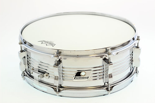 "Ludwig Vintage Chrome over Steel 8 Lug 14"" x 5"" Snare Drum."