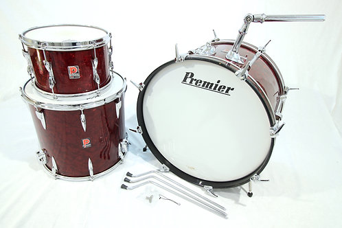 Vintage 1960's Premier (UK) Burgundy Pearl 3 Piece Drum Set (Shell Pack)