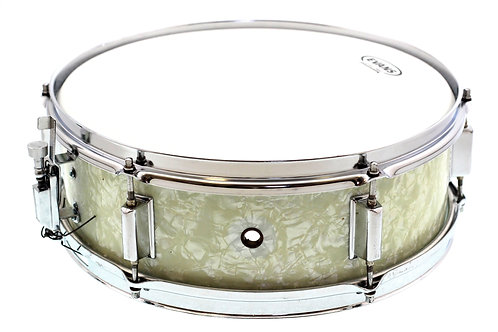"Kent 1960's 14"" x 5"" White Marine Pearl Snare Drum"