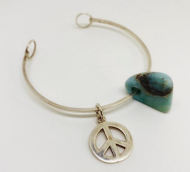 Peace Bangle with Larimar Stone