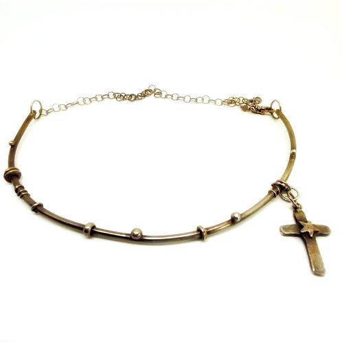 Fine Silver Cross Choker/Necklace