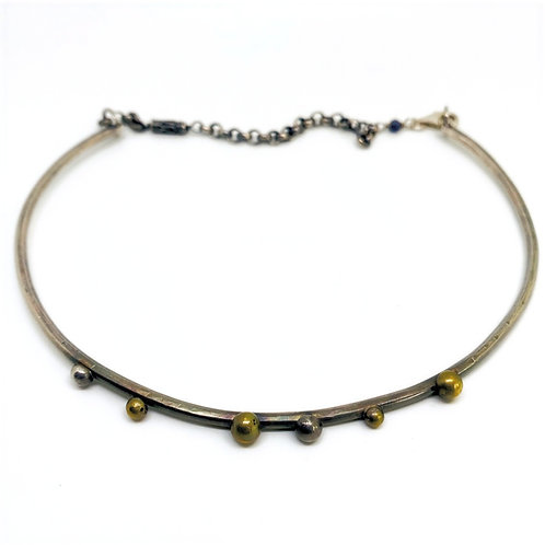 Sterling Choker with Brass Dots