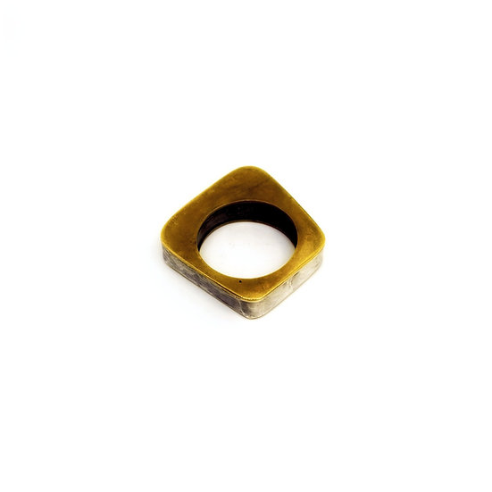 Hollow Brass and Sterling Ring
