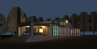 Cabin Project 8-05 NIGHT - 3D View - 3D