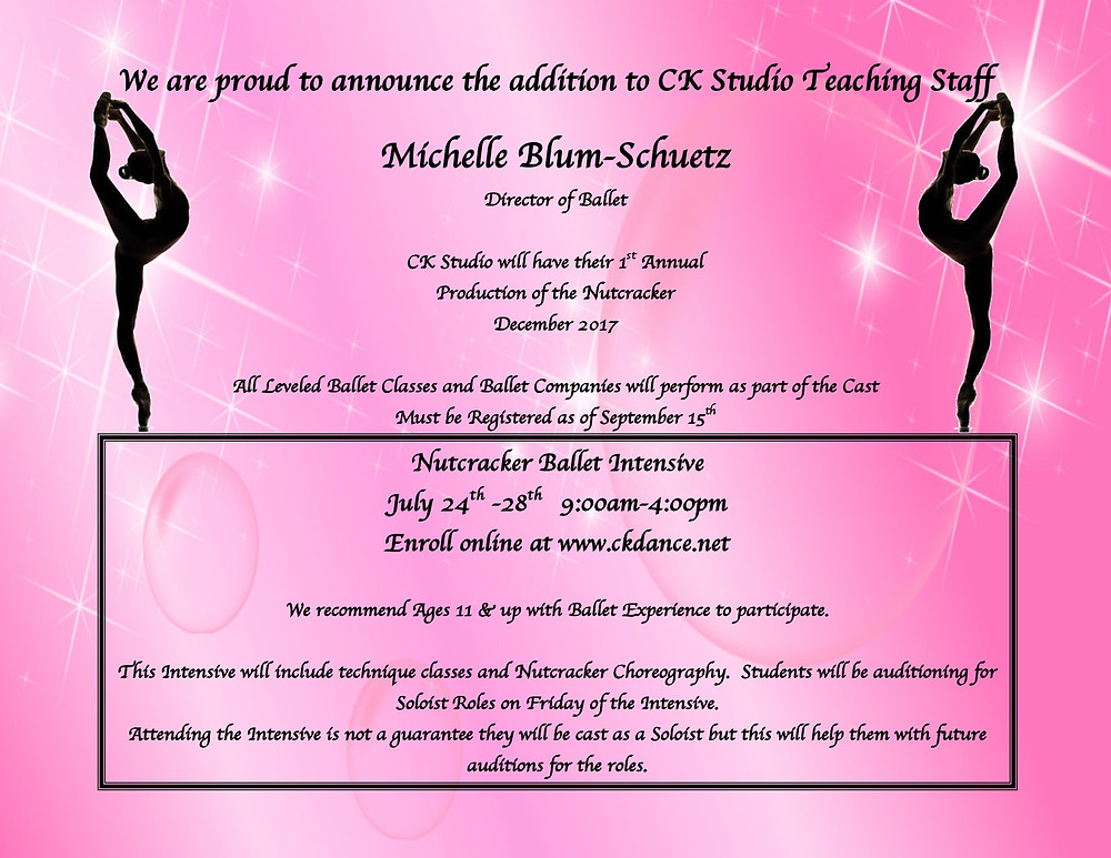 We are so excited to have Michelle join our staff.  Our 1st Annual Nutcracker will be held in Dec. 2017.