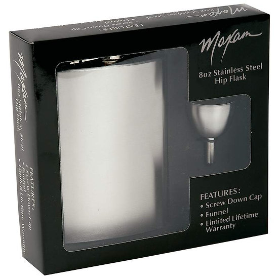 Maxam® 8oz Stainless Steel Flask and Funnel in Window Gift Box (Case 12)