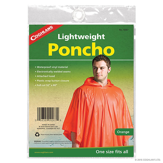 Coghlan's Lightweight Poncho - Orange (Case 12)