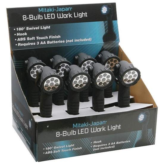 Mitaki-Japan® 8pc 8-Bulb LED Work Lights in Countertop Display