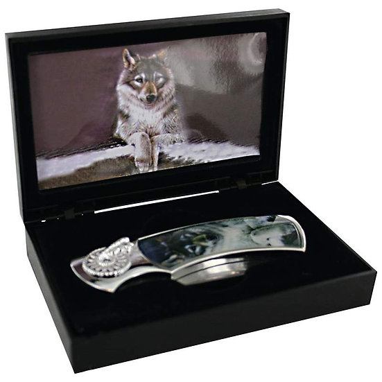 Maxam® Decorative Wolf Lockback Knife (Case 6)
