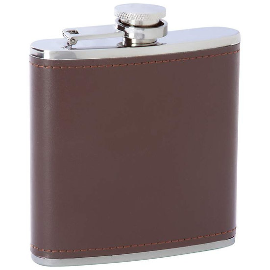 Maxam® 6oz Stainless Steel Flask with Brown Genuine Leather Wrap (Case 6)