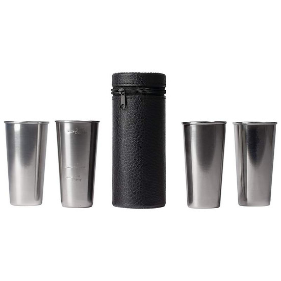 Stainless Steel 4pc Double-Shot Sized Shot Glass Set (Case 6)
