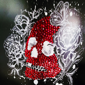 Screen printed and embellished skull on Bubbalux