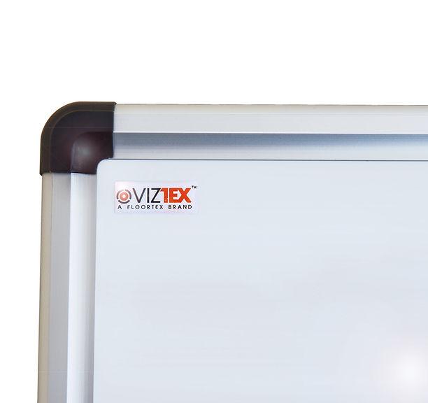 Corner detail of Viztex whiteboard with aluminium frame
