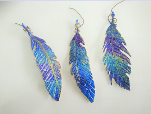 Painted, embossed & gilded Bubbalux feathers by Suz Humphreys