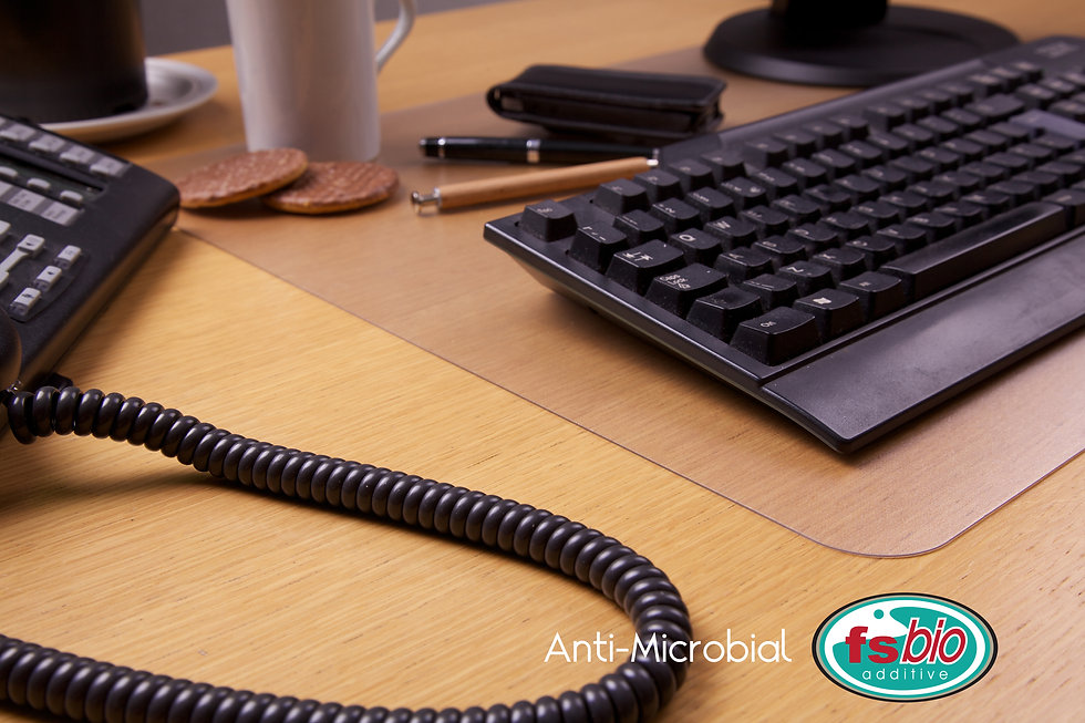 Desktex Anti-Microbial Desk Mat on a desk