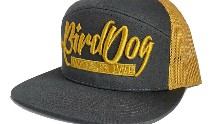 7 Panel Charcoal/Old Gold Trucker