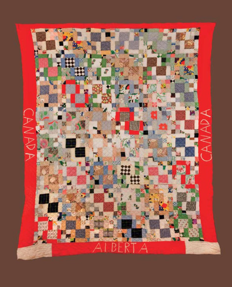 Red Cross quilts were made to aid victims of the war in Britain (1939 – 1945) and distributed by the Red Cross. Royal Alberta Museum. Photo: MBAC