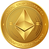 Ethereum Crypto Coin Graphic Gold Shiny
