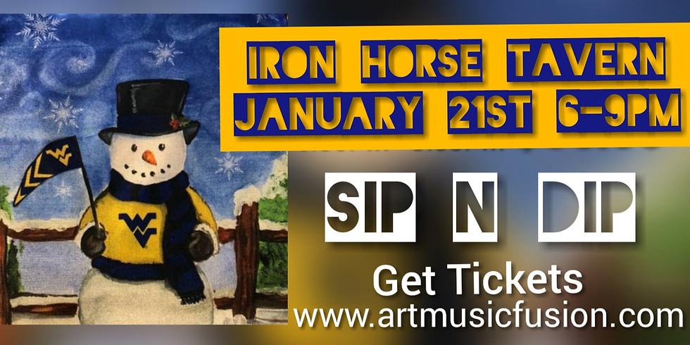 WVU Snowman with Sip N Dip at Iron Horse Tavern