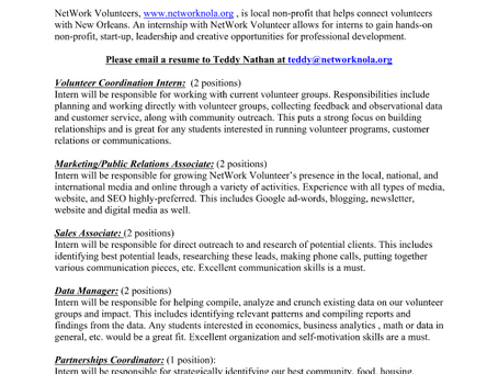 Spring 2020 Internship Positions
