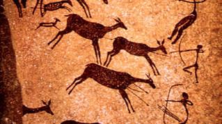 Arte prehistórico: escena de caza, cuevas de Valttorta, España
