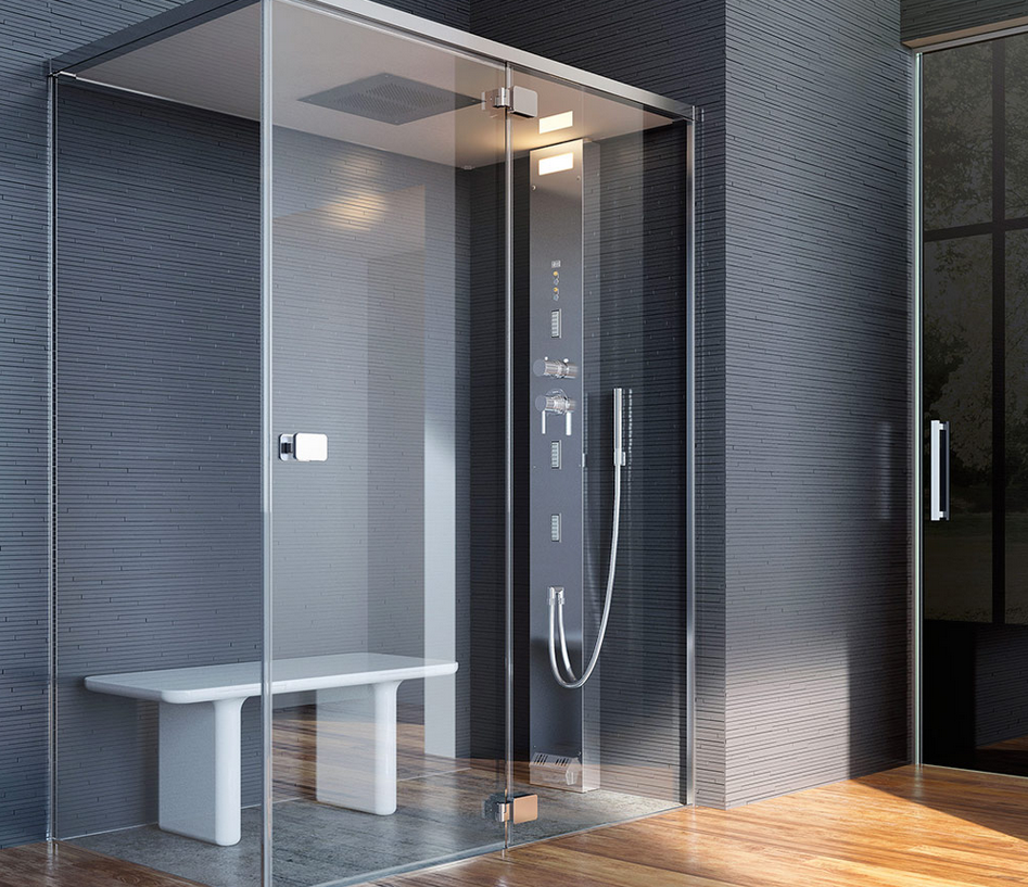 Noor steam  hammam su misura, con porta battente GLASS