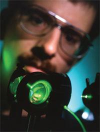 Scientist using an optical biosensor