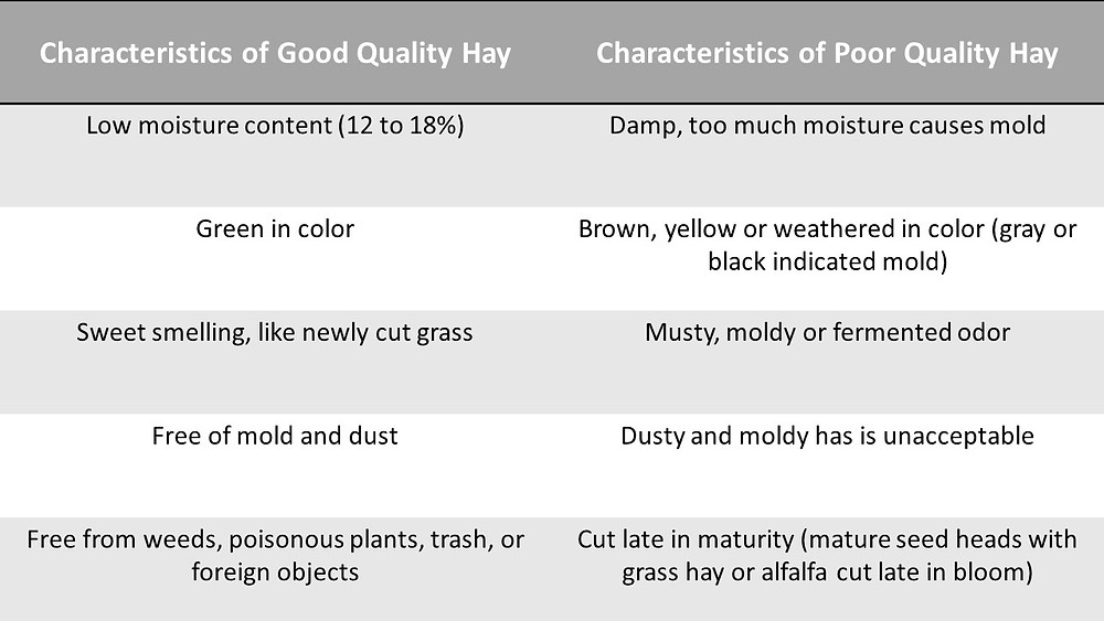 Table of characteristics of good and bad quality hay