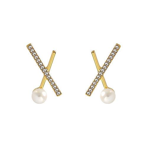 Criss-cross Pearl Earrings