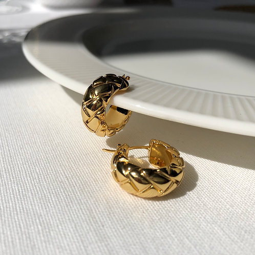 Quilted Gold Hoops
