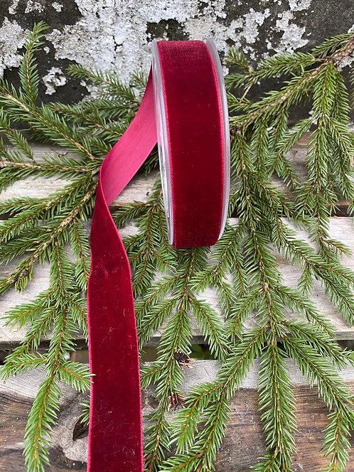 burgunder fløyelsbånd, bredde 2,5cm