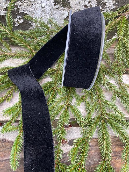 Sort fløyelsbånd, bredde 4 cm