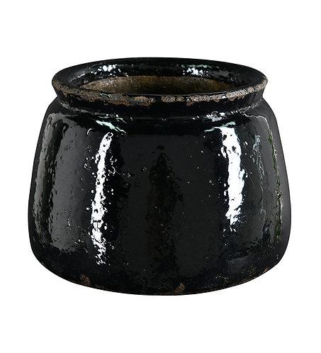 Blank, svart blomsterpotte