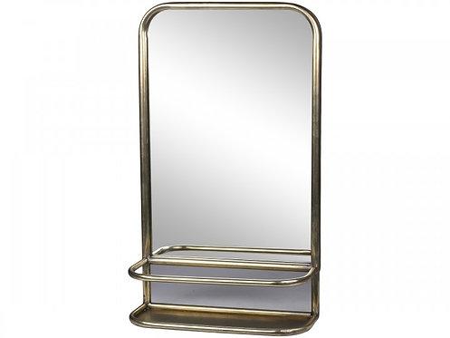 Ib Laursen, speil i antikk messing med hylle