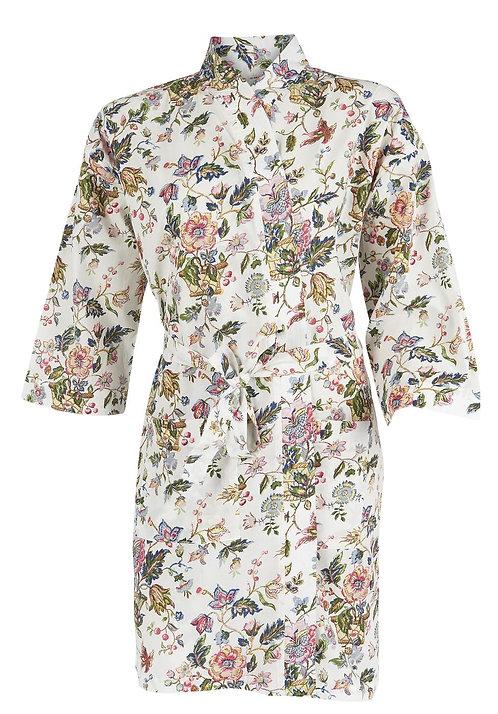 Ib Laursen, kimono blomstret hvit bakgrunnstørrelse Large/Xlarge