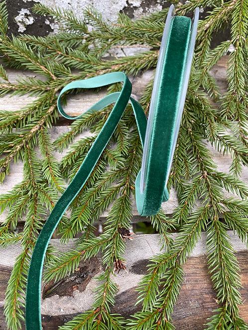 Grønt fløyelsbånd, bredde 1 cm