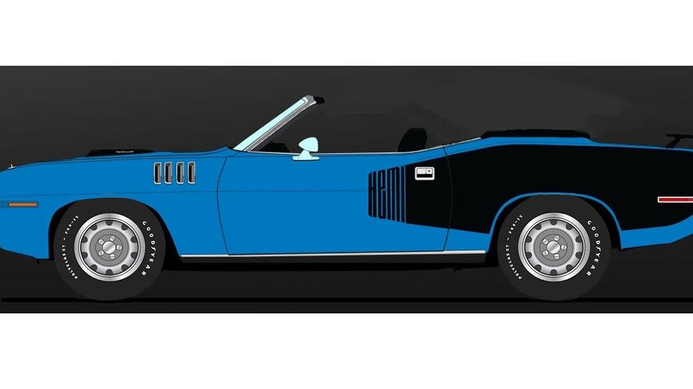 BYC release #?, Nice CarDiecast, 1971 Hemi Cuda convertible, 1-30, PLEASE READ !