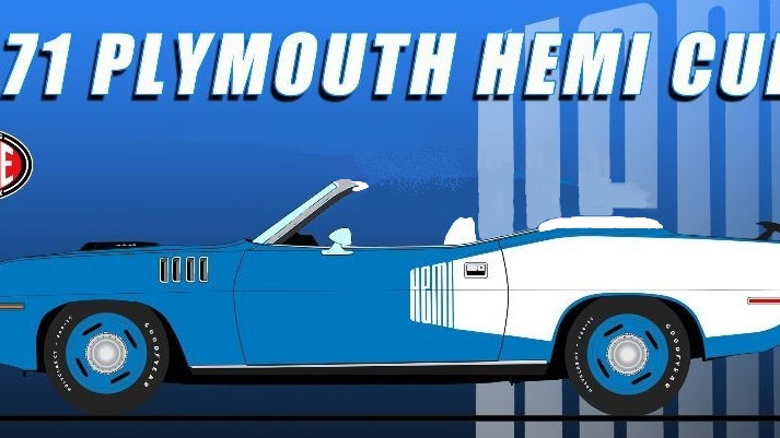 BYC/ACME, 1971 Hemi Cuda, B5 Blue with White billboards, 1 of 48 convertible