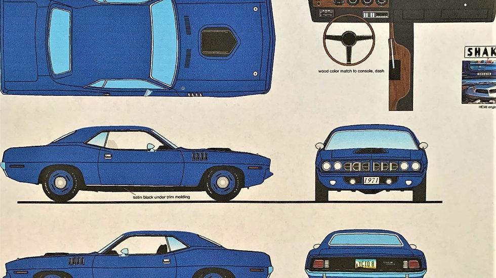 YCID release #9, 1971 Hemi Cuda, B5 Blue Coupe, 1 of 40