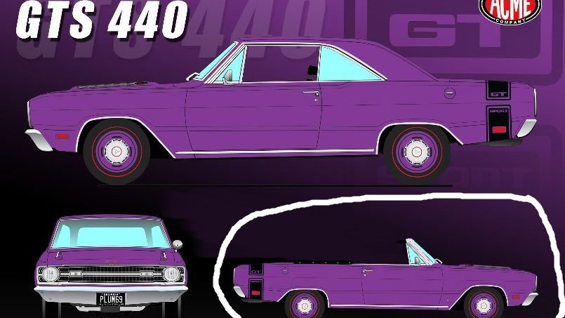 BYC release #?? , Acme, Plum Crazy Purple, 1969 Dart GTS 440 1-24 convertible